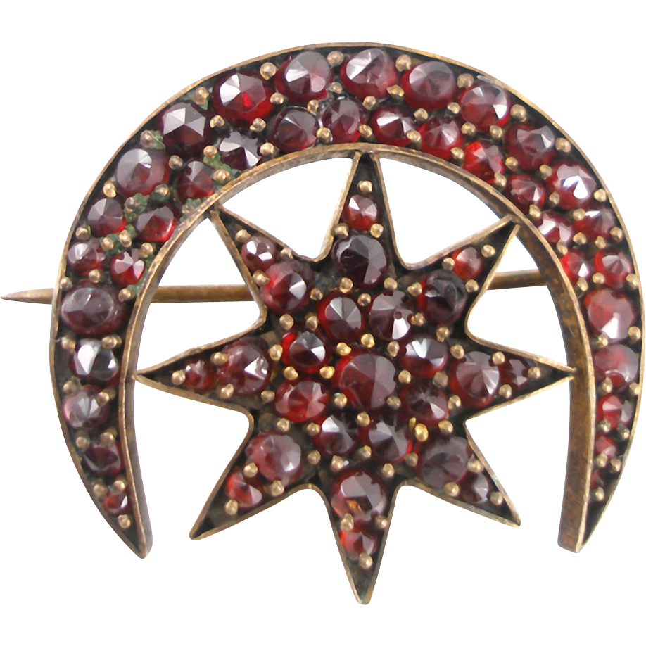 Antique Victorian Garnet Moon and Star Brooch
