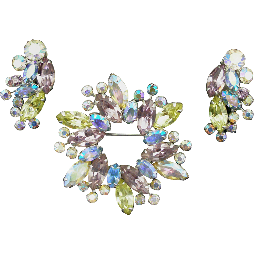 Vintage Signed Weiss Pastel Pin and Earrings Demi Parure