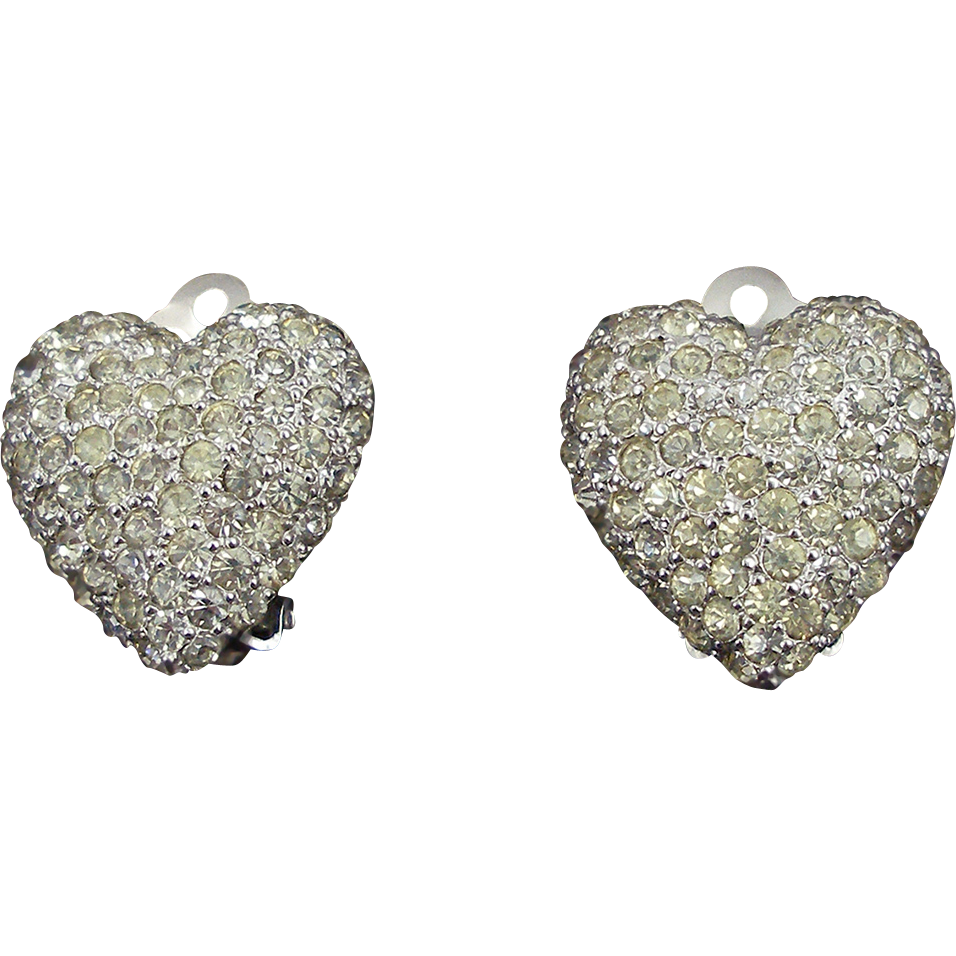 Vintage Signed Weiss Crystal Heart Clip Earrings