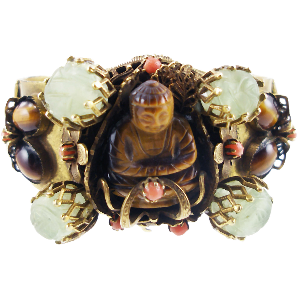 Vintage Unsigned Hobe Buddha cuff bracelet