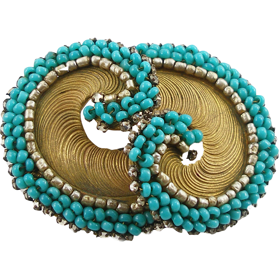 Vintage Signed Miriam Haskell Faux Turquoise Brooch