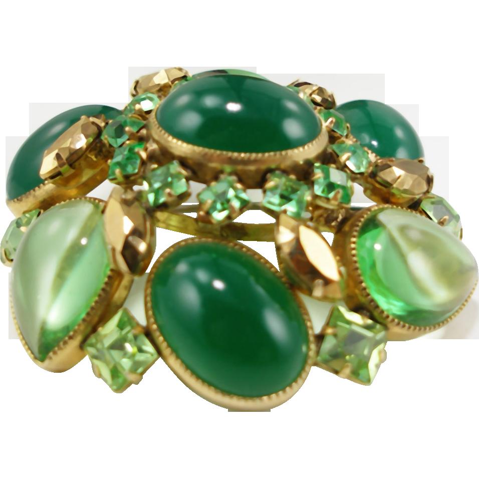Vintage Schreiner faux jade & peridot brooch