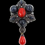 Vintage Schreiner red & black pin / pendant