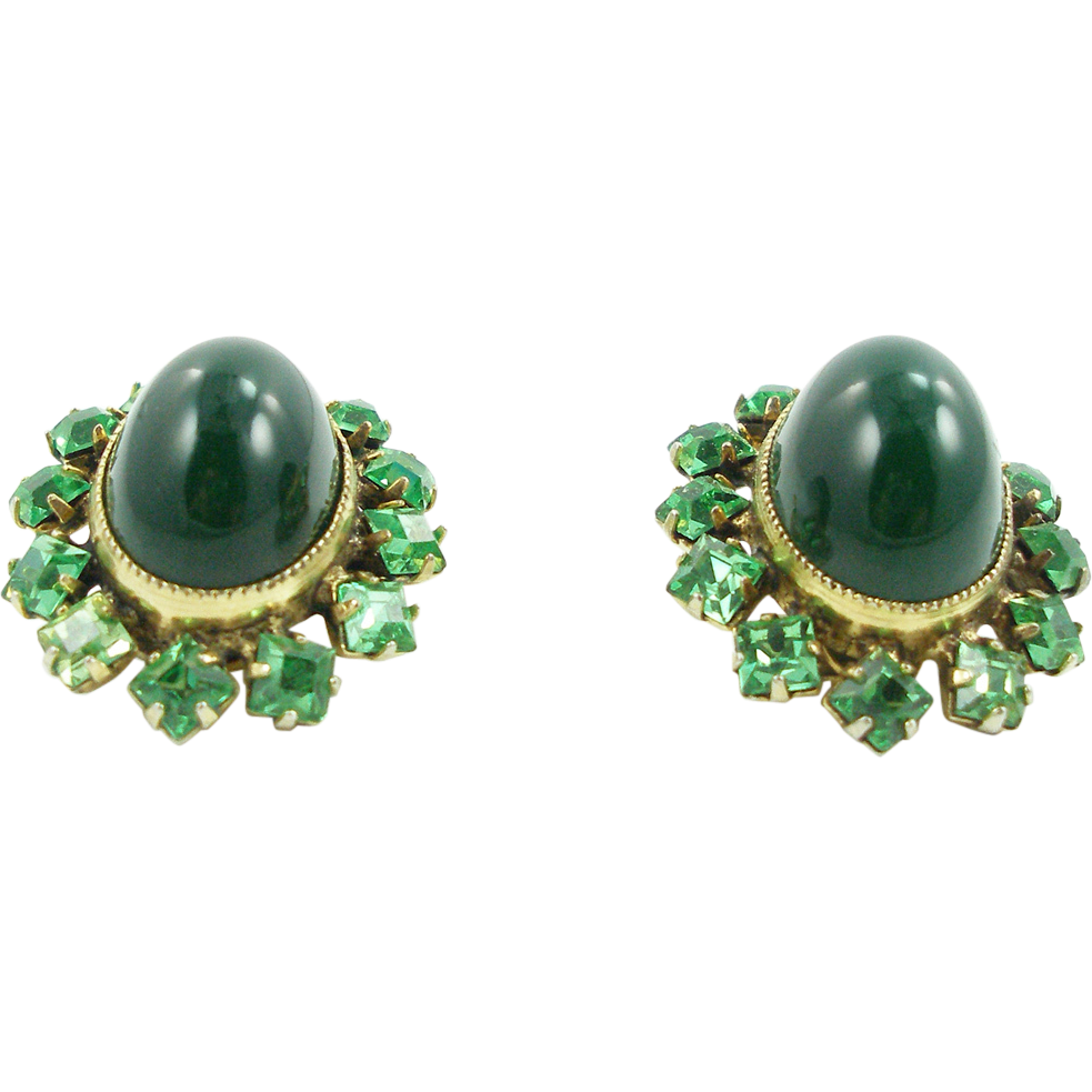 Vintage Signed Schreiner Green Domed Clip Earrings