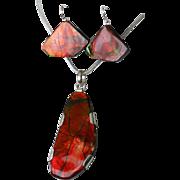 Fiery Red Ammolite Pendant and Earrings