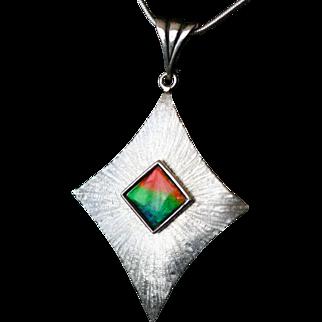Elegant Multi-Color Ammolite Pendant