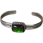 Sterling Silver Bangle with Green Ammolite Gemstone