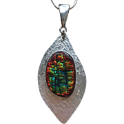 Ammolite Pendant with Multicolor Dragonskin Pattern