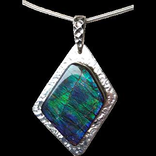 Ammolite Pendant in Blue/Green Feathery Pattern