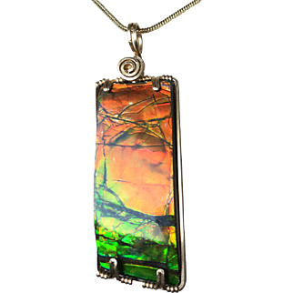 Ammolite Pendant - Red and Green Tinfoil Look