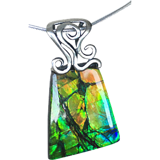 Ammolite Pendant with Peachy-Turquoise Tones