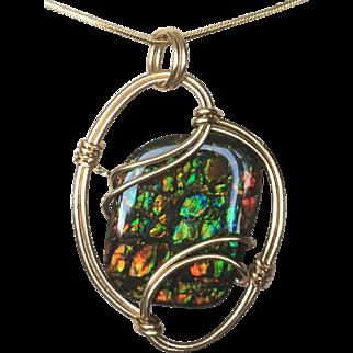 Multi-Color Ammolite Pendant - Cobblestone Pattern