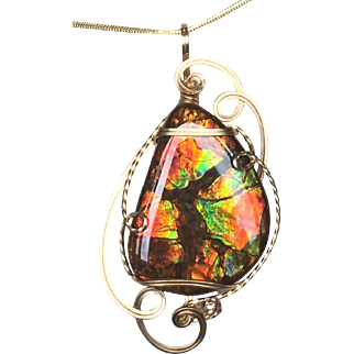 Ammolite Pendant - Vibrant Stained Glass Pattern
