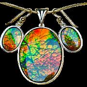 Sparkly Dragonskin Ammolite Pendant and Earring Set