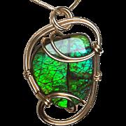 Sparkly Green Ammolite Pendant