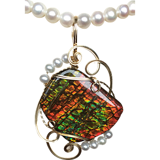 Multi-Color Ammolite Pendant with Pearls