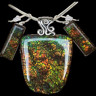 Humungous Lizardback Ammolite Pendant with Matching Earrings!