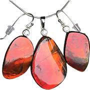 Red Blazer Ammolite Pendant and Earring Set