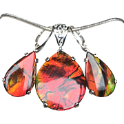 Large Ammolite Triplet Pendant and Earring Set