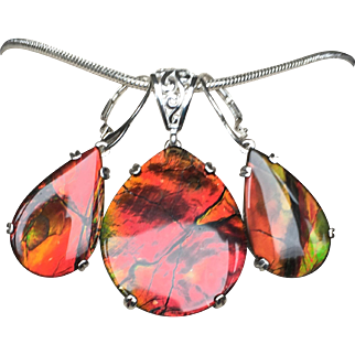 Large Ammolite Triplet Pendant and Earring Set