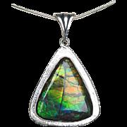 Multi-Color Triangular Ammolite Pendant