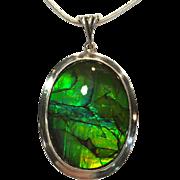 Huge Green Ammolite Pendant
