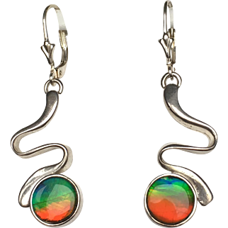 Squiggly Wiggly Ammolite Earrings