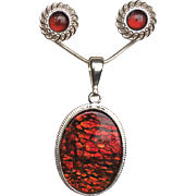 Glittery Red Ammolite Pendant with Matching Earrings