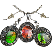 Ammolite Pendant and Earring Set - Orange and Green