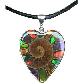 """Close to Your Heart"" Ammonite Pendant with Ammolite Inlay"