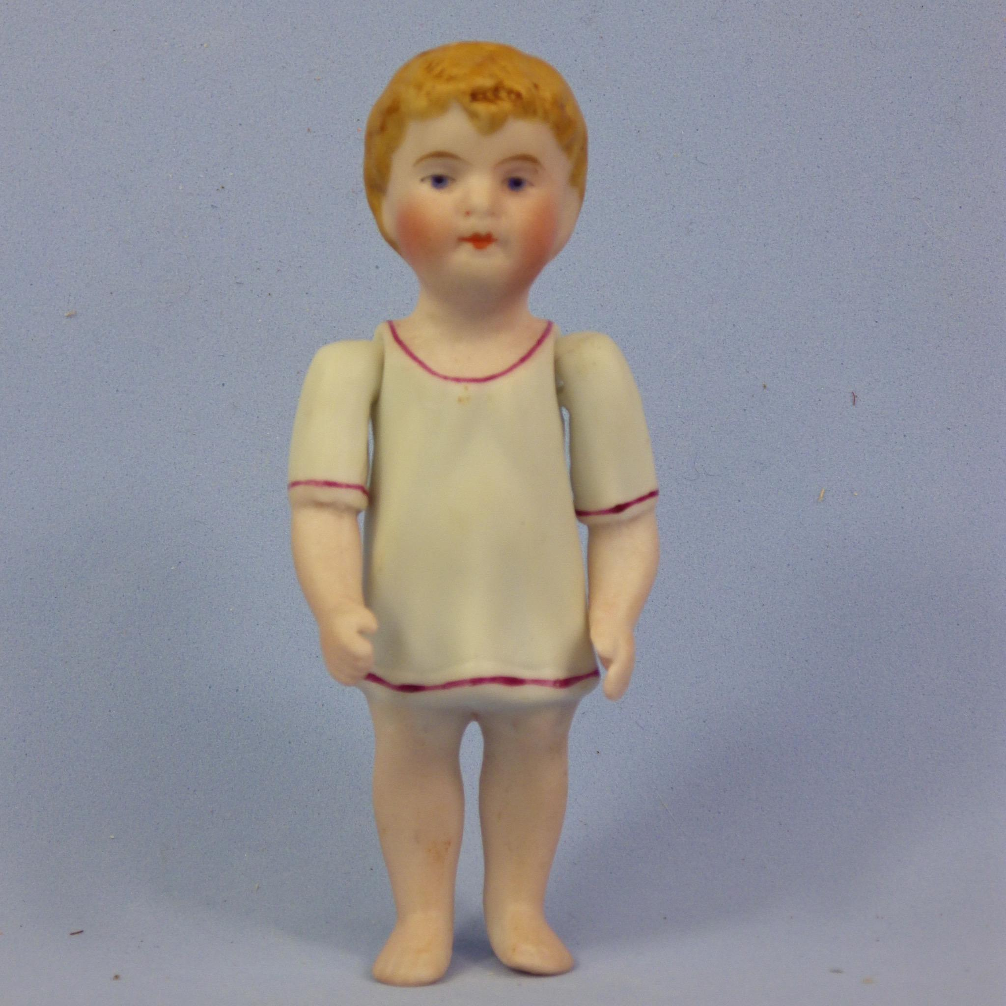 Early All Bisque Boy Doll in Molded Shirt, Jointed Arms