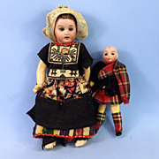 2 German Bisque Head Dutch & Scot Dolls, Original Clothes