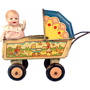 Cutest Vintage Lithographed Tin Wyandotte Baby Carriage