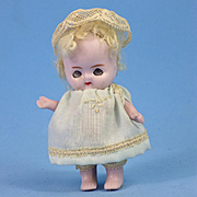 Tiny Odd Adorable German All Bisque Doll, Sleep Eyes
