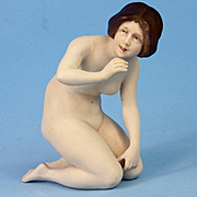 Large Lovely Kneeling Nude German Bisque Bathing Beauty