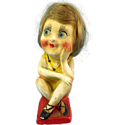 """Tease Me"" 1920 Chalkware Flapper Bathing Beauty"