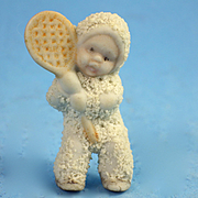 Tiny Bisque Tennis Playing Snow Baby
