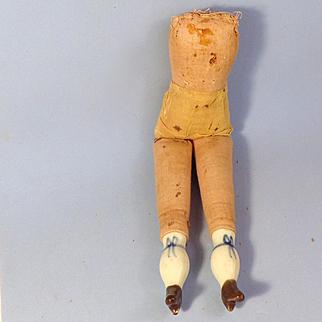 "Antique 10.5"" Cloth Body, China Lower Limbs"