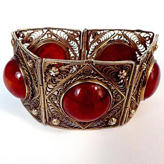 30s Egyptian 800 Filigree Bracelet