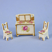 Miniature French Porcelain Furniture, 2 Chairs & Sideboard
