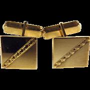 14k Mid-Century Engraved Cufflinks