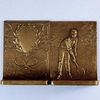 1916 Griffoul Bronze Tennis Theme Bookends
