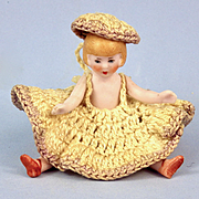 All Bisque Hertwig Flapper Girl, Dressed