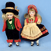 All Bisque Pair, All Original Norway Costumes