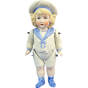 All Bisque Hertwig Sailor Boy, Molded Clothes