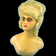 Wax Over Half Doll Boudoir Bust, Mohair Wig