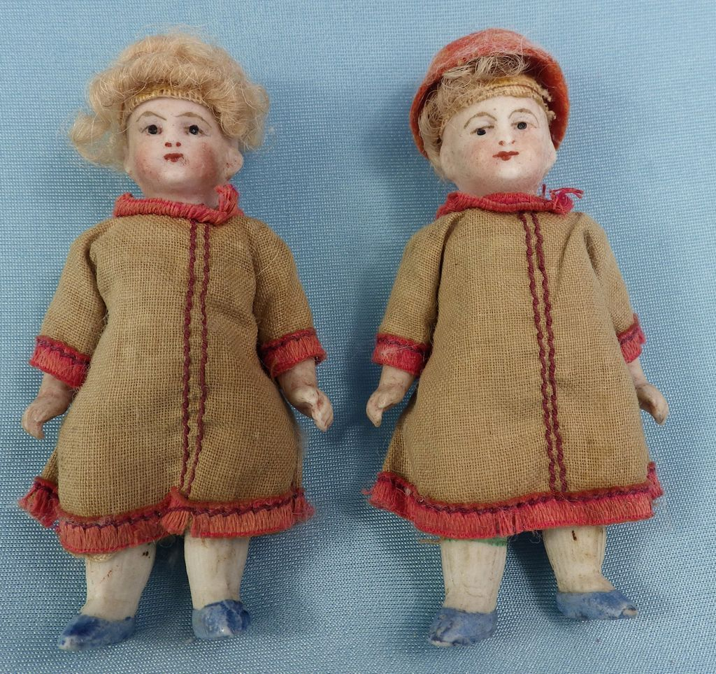 All Original German All Bisque Twin Girl Dolls, Blue Shoes