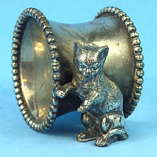 Figural Cat Engraved Napkin Ring, Silverplate