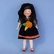 German All Bisque Flapper Spanish Girl, Original Clothes