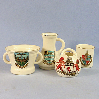 4 Goss Crested Ware Pieces, Mortar, Pot, Mug, & Jug